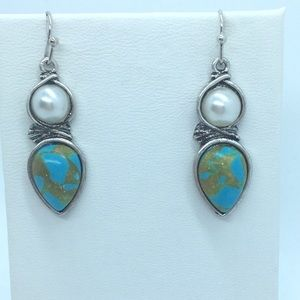 Genuine Pearl & Turquoise Wire Wrapped Earrings